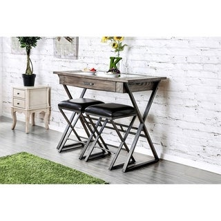 Wood and Metal Bar Table With Storage Drawer and Inserted Glass, Gray and Brown