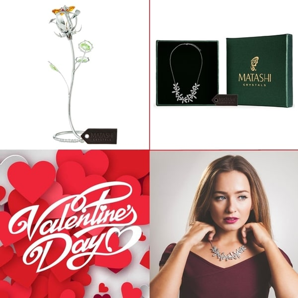 Matashi Chrome Plated Silver Rose Flower Combo with Rhodium Plated Necklace and Extendable Chain