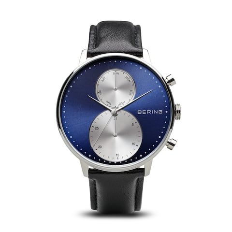 BERING Classic Slim Watch With Sapphire Crystal & Black Calfskin Leather Strap
