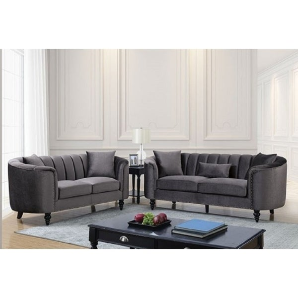 Zeila 2 Piece Clamshell Styled Sofa Set in Velvet-Like Fabric with Accent Pillow