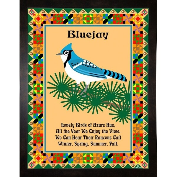 """Blue Jay Quilt-MARFRO73091 Print 32.5""""x24.5"""" by Mark Frost"""