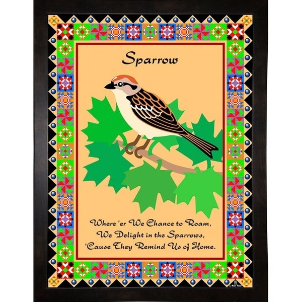 """Sparrow Quilt-MARFRO73101 Print 32.5""""x24.5"""" by Mark Frost"""