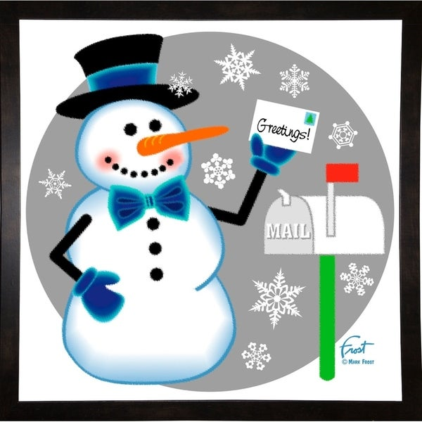 """Snowman Mailbox-MARFRO130440 Print 24.5""""x24.5"""" by Mark Frost"""