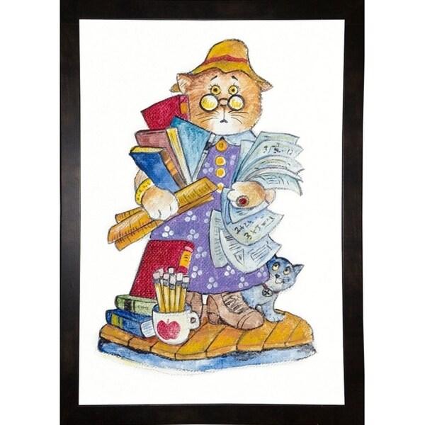 "Teacher Cat-BILBEL9310 Print 15.5""x10.75"" by Bill Bell"