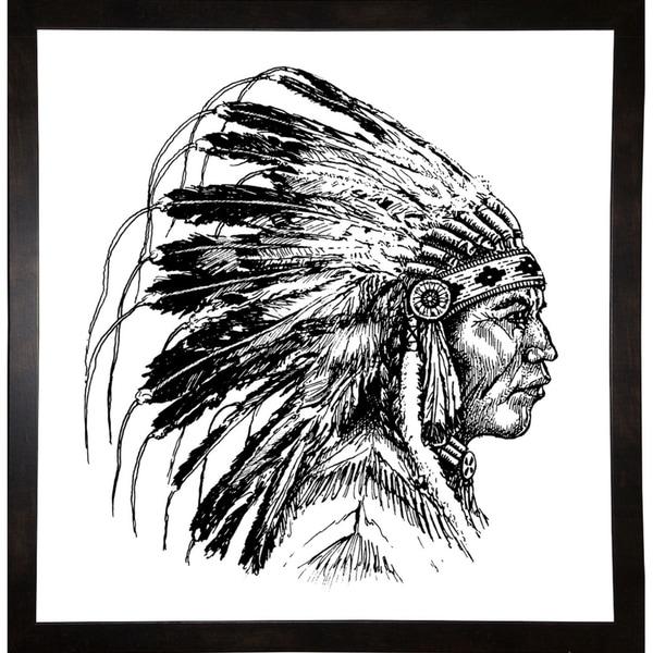 "Native American Head-AROGAD121914 Print 20""x19.5"" by Aron Gadd"