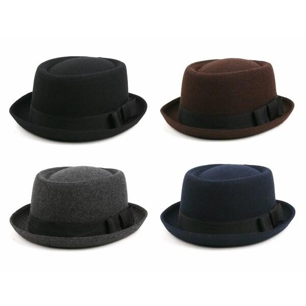 cf1cdfa70a7 Shop Unisex Wool Felt Pork Pie Fedora Hat 509HF   P2012 - Free ...