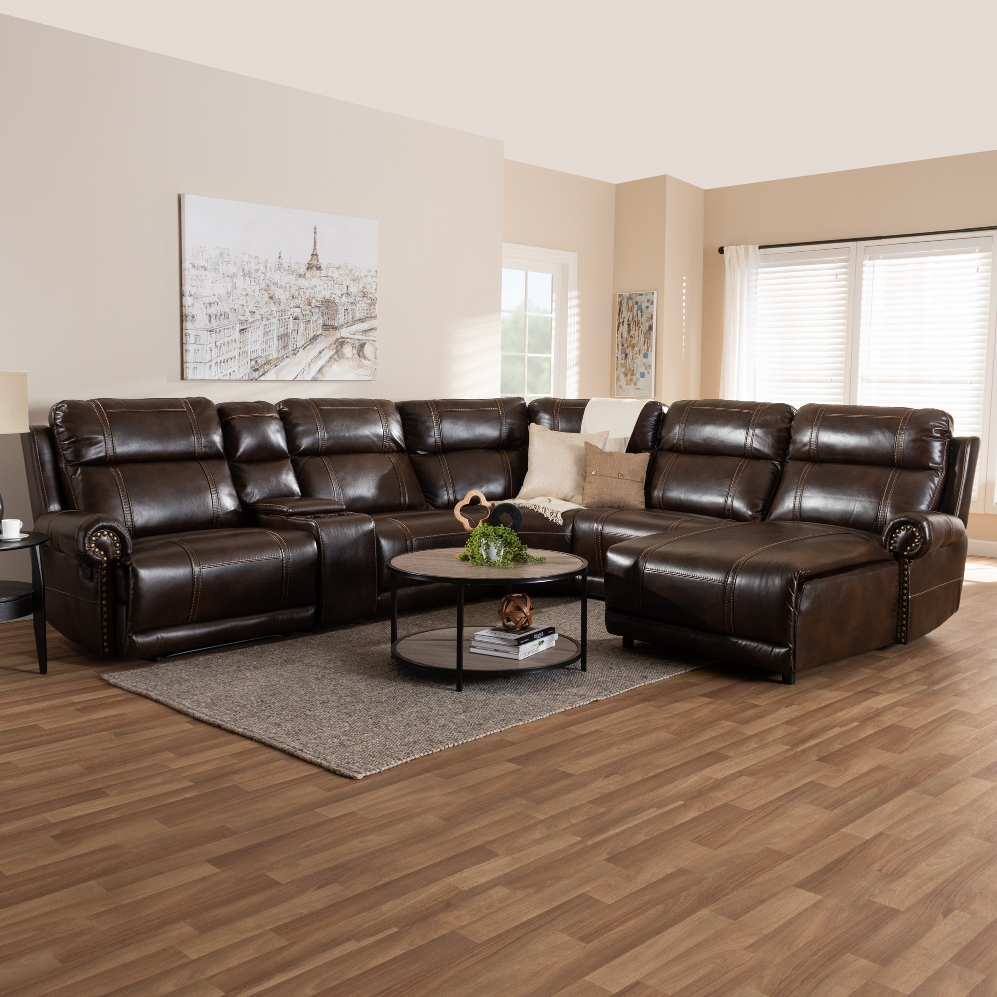 Contemporary Faux Leather Sectional Sofa by Baxton Studio