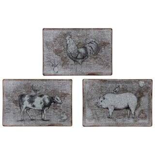 """Metal Cow Pig Chicken Ornament Painting Rust Galvanized Finish Gray 16"""""""