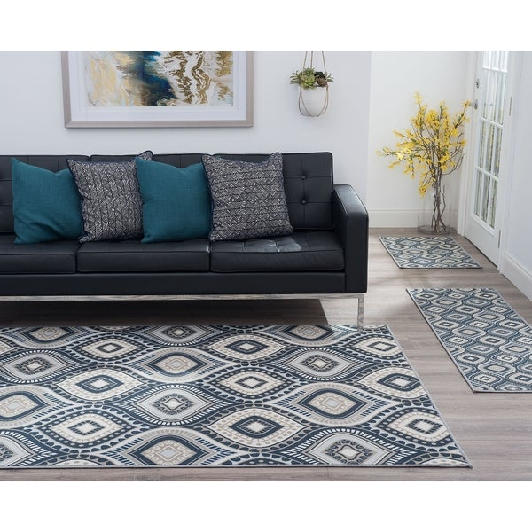 Alise Rugs Majolica Contemporary Geometric Three Piece Set
