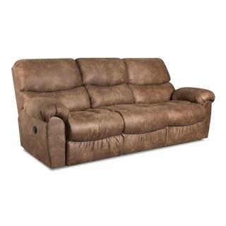 Laredo Faux Leather Reclining Sofa (Brown/ Grey) (Manual/ Power)