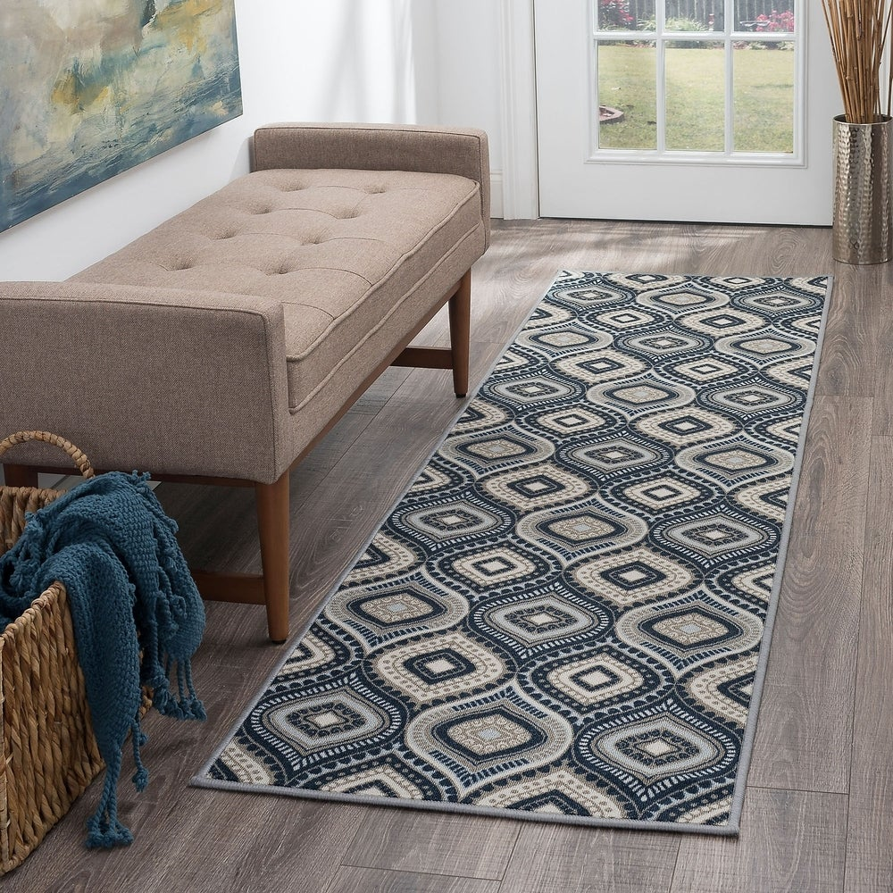 23 x 78 Runner Grey Momeni Rugs  Geo Collection Hand Hooked Contemporary Area Rug