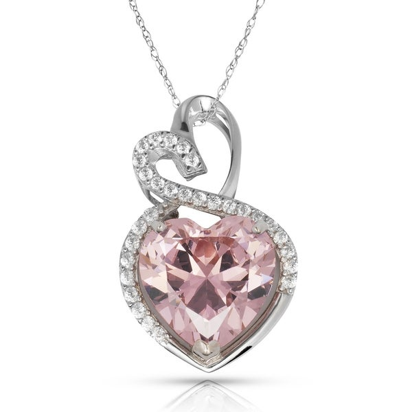 14K White Gold Necklace With Pink Heart Shaped Cubic Zironia 18 Inches