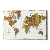 "Epic Graffiti ""Gilded Map"" by Wild Apple Portfolio, Giclee Canvas Wall Art, 18""x26"""