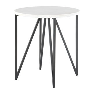 Picket House Furnishings Kinsler White and Black Marble and Metal Round Contemporary End Table