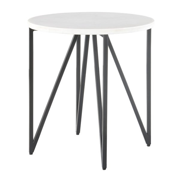 White Marble And Metal Round Accent Table: Shop Picket House Furnishings Kinsler White And Black