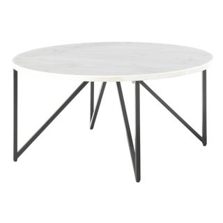 Picket House Furnishings Kinsler Round White/Black Marble/Metal Coffee Table
