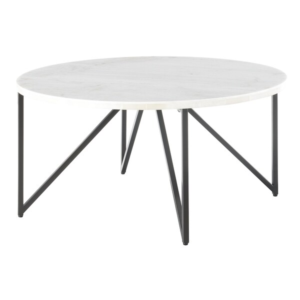4d20f0aa96 Picket House Furnishings Kinsler Round White/Black Marble/Metal Coffee Table