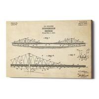 """Epic Graffiti """"Suspension Bridge Blueprint Patent Parchment"""" Giclee Canvas Wall Art, 12"""" x 18"""""""