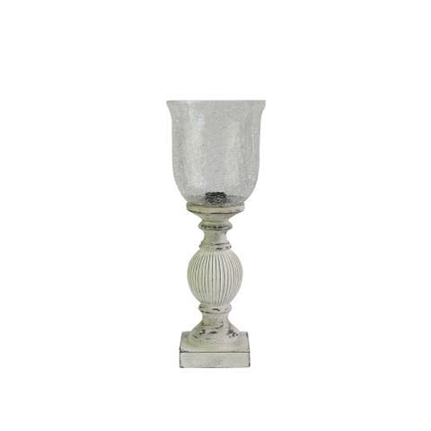 Fangio Lighting's 6260 18in. Antique White/Clear Crackle Glass Uplight