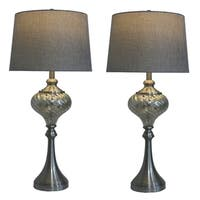 Fangio Lighting 1594 Brushed Steel/ Glass Table Lamps (Set of 2)