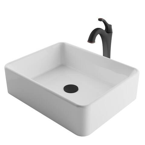 Kraus 3-in-1 Bathroom Set C-KCV-121-1200 White Ceramic Rectangle Vessel Sink, Arlo 1-Hole Faucet, Pop Up Drain, 4 finish