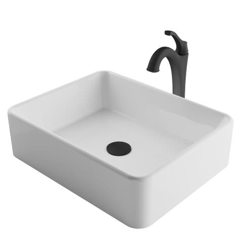 Kraus 3-in-1 Bathroom Set C-KCV-121-1200 White Ceramic Rectangle Vessel Sink, Arlo 1-Hole Faucet, Pop Up Drain, 4 finish