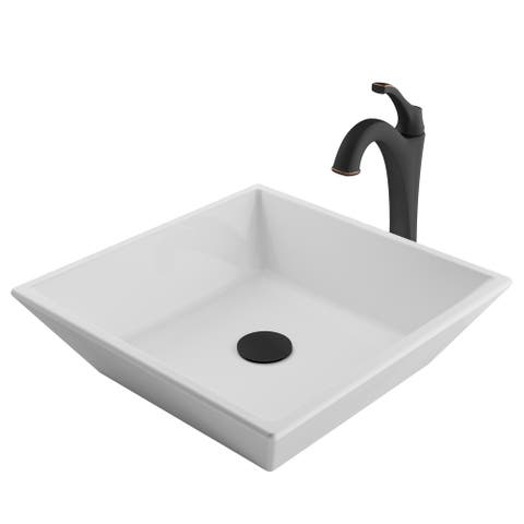 Kraus 3-in-1 Bathroom Set C-KCV-125-1200 White Ceramic Square Vessel Sink, Arlo 1-Hole Faucet, Pop Up Drain, 4 finish