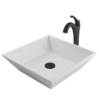 Kraus 3-in-1 Bathroom Set C-KCV-125-1200 White Ceramic Square Vessel Sink, Arlo 1-Hole Faucet, Pop Up Drain, 4 finish
