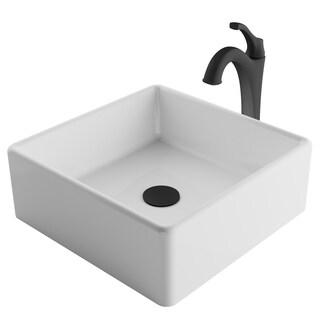 Kraus 3-in-1 Bathroom Set C-KCV-120-1200 White Ceramic Square Vessel Sink, Arlo 1-Hole Faucet, Pop Up Drain, 4 finish