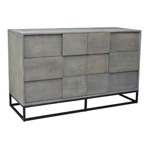 Aurelle Home Frita Grey Solid Acacia Modern 6-drawer Dresser