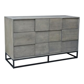 Aurelle Home Frita Grey Solid Acacia Modern 6-drawer Dresser
