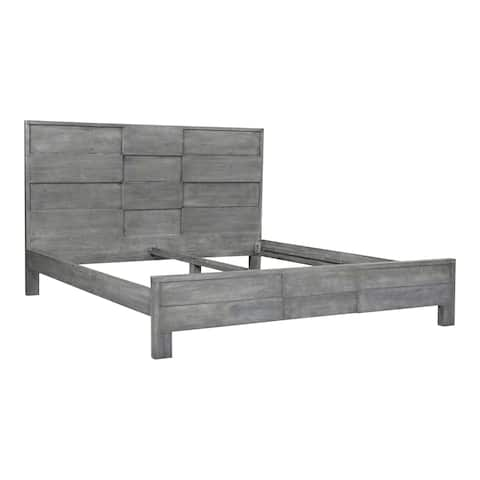 Aurelle Home Frita Grey Solid Acacia Modern Panel Bed