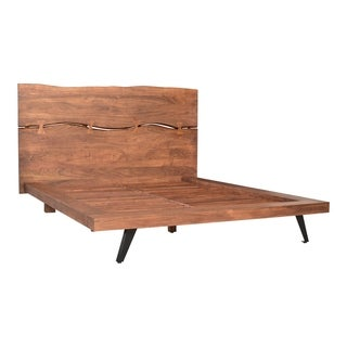 Aurelle Home Marlene Brown Rustic Acacia Wood Platform Bed