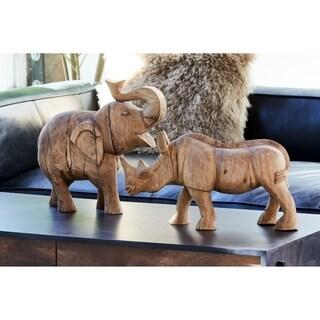 Aurelle Home Rustic Wood Elephant Statue