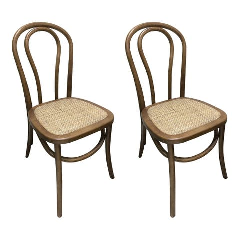The Curated Nomad Cole Bentwood and Rattan Dining Chairs (Set of 2)