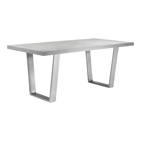 """Aurelle Home Milan Modern Steel Base and Grey Dining Table - 29.5"""" x 71"""" x 35.5"""""""