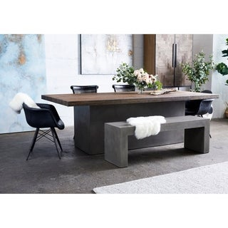 Aurelle Home Solid Oak Top Modern Dining Table