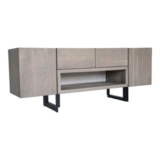 Aurelle Home Hampton Grey Storage Media Cabinet