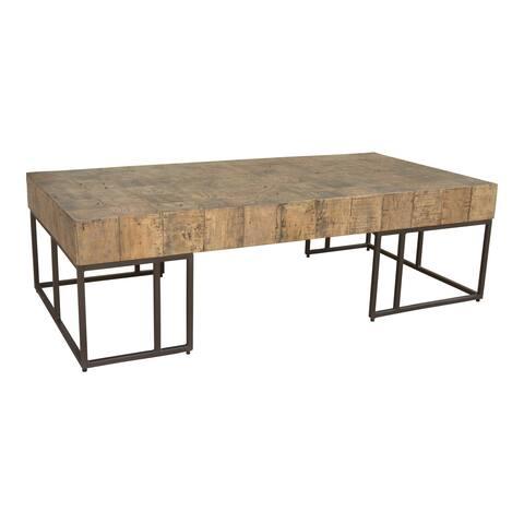 "Aurelle Home Criss Rustic Wood Block Coffee Table - 16"" x 26"" x 54"""