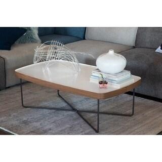 "Aurelle Home Letty Wood & Metal Modern White Coffee Table - 15.5"" x 47"" x 28"""