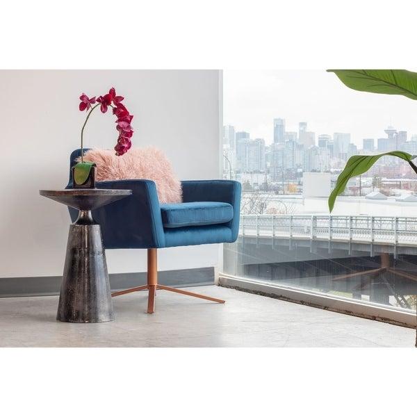 Aurelle Home Grey Aluminum Industrial Accent Table