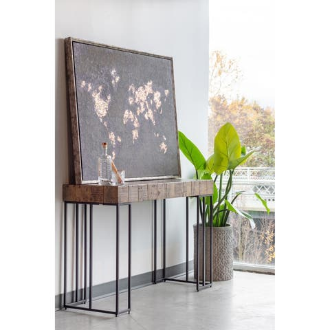 "Aurelle Home Criss Rustic Wood Block Console Table - 32"" x 49"" x 18"""