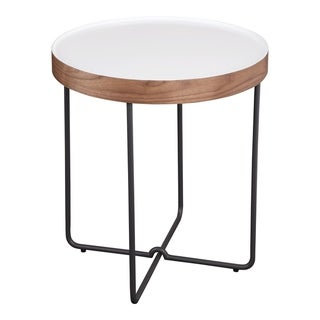 "Aurelle Home Letty Wood & Metal Modern White Side Table - 22""x 20"" x 20"""