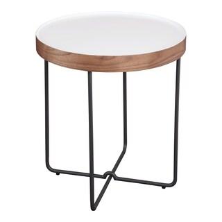 "Aurelle Home Letty Wood & Metal Modern White Side Table - 22""x 20"" x 20"""