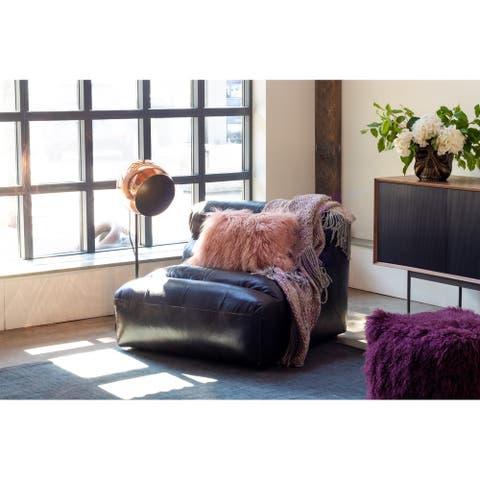Aurelle Home Low Profile Premium Leather Lounge Chair