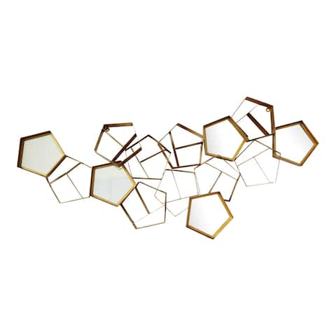 Aurelle Home Glam Mirrored Gold Wall Decor