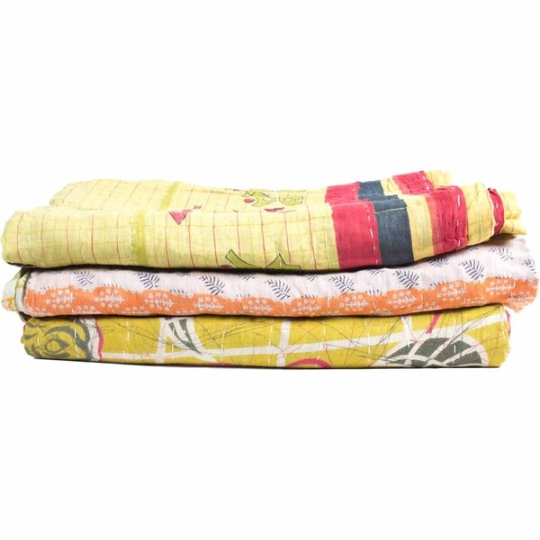 Aurelle Home Handcrafted Kantha Style Quilts (Set of 3)