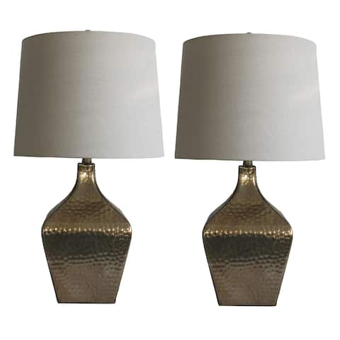 Fangio Lighting's 5161 Pair of 28in. Brown Glass & ORB Table Lamps