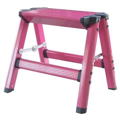 AmeriHome Lightweight Single Step Aluminum Step Stool - Bright Pink