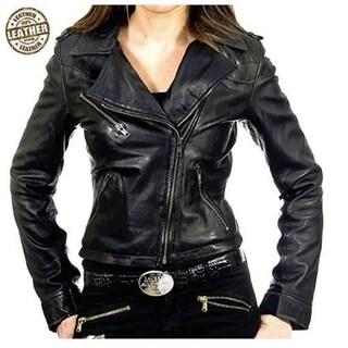 Lambskin Slim Biker Leather Jackets For Women